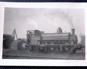 Whitwood Colliery, Yorkshire, railway engine photograph, vintage.  Engine No. 4 with 2 engineers, last coal out 1966, reverse 25/6/49,.