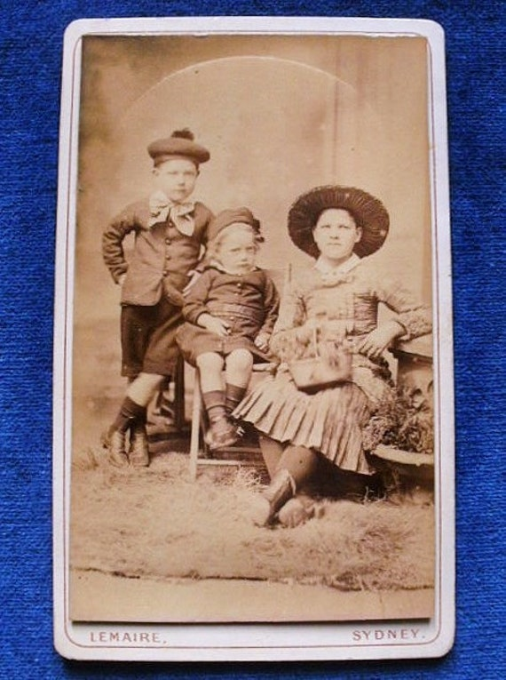 Carte De Visite Antique 2 Brothers A Sister Wearing Their