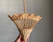 Vintage Wicker Upside Down Basket Umbrella Wall Hanging Planter Basket Natural Colored Boho Wall Decor