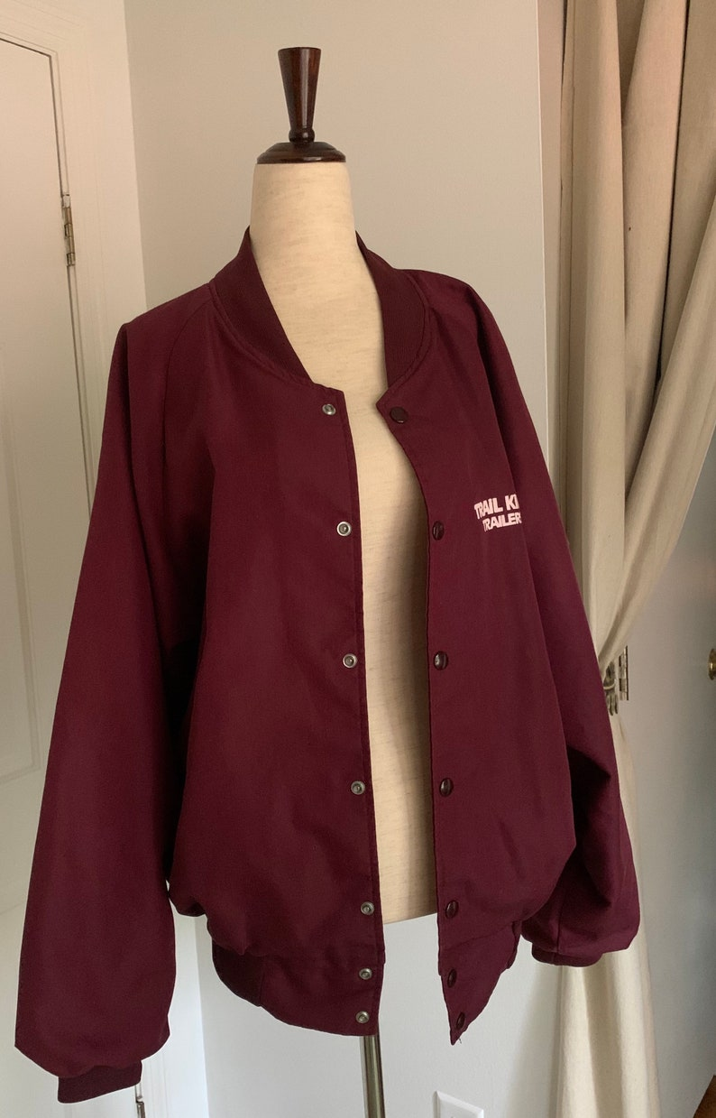 Maroon Hartwell Sports Trucking Button up Over-sized Spring Vintage 80s Red Track Jacket XL L Trail King Trailer Industries