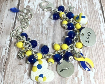 Downs Syndrome Bracelet in Stainless Steel | Downs Syndrome Awareness | Blue and Yellow Awareness | Downs Syndrome | Down Syndrome Jewelry