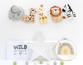 Sew your own felt Safari animals garland, Nursery decor, Jungle garland, DIY sewing kit, Safari nursery decor, the Banner Boutique