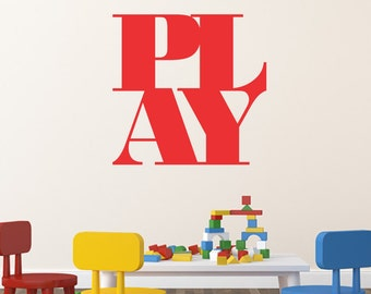 Play Wall Decal, Kids Wall Decal, Sticker Home Wall Decor, Office Wall Decor, Removable Wall Decal, Kids Wall Art