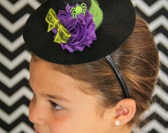db4c6e40fcd Mini witch hat. Purple and lime green Halloween headband