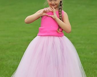 Full lenght pink tutu skirt. Long tutu.