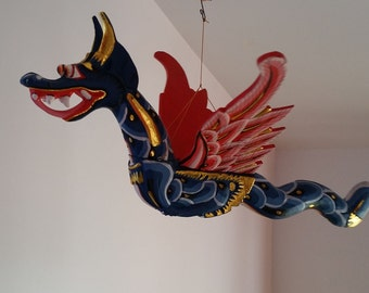 Vintage Balinese Dragon Mobile - Hand-Carved, Hand-Painted