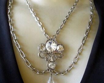 Vintage Layered Rhinestone Nouveau-Style Pendant Necklace