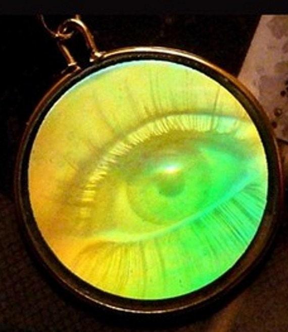 Unisex vintage one way 3 d hologram eye pendant with added etsy aloadofball Choice Image