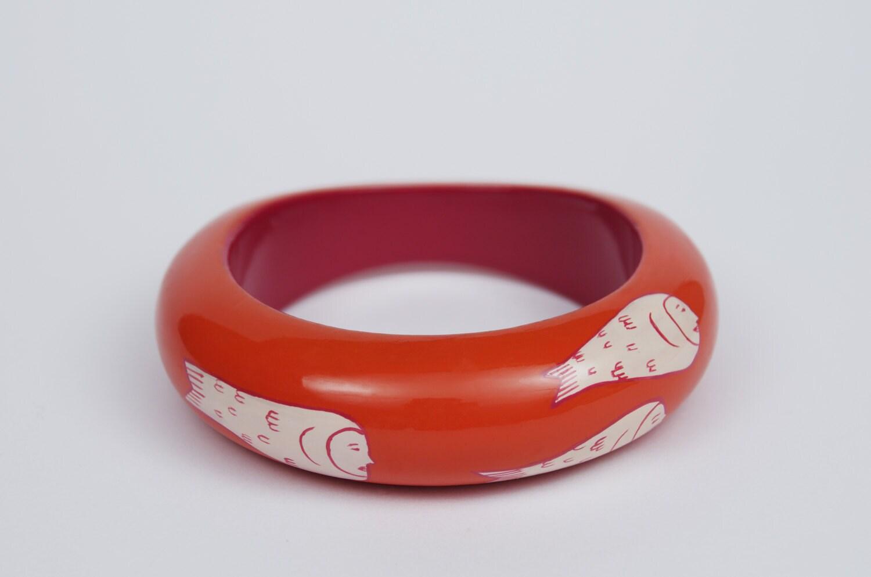 Bracelet ponyo orange rose pastel grand mod le poisson etsy - Modele poisson ...
