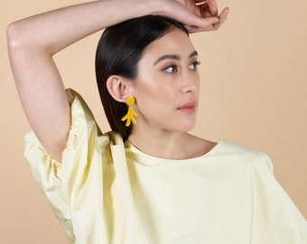 Earrings ETTORE Yellow - lacquer wood