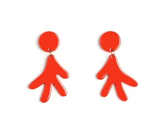 Earrings ETTORE red - lacquer wood