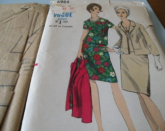1967 VOGUE 6984 Three Piece Suit Bust 33 Partially Cut and Complete