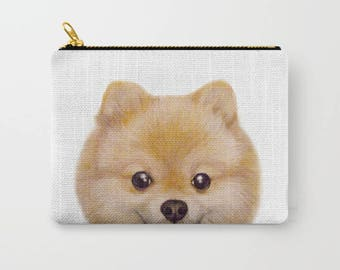 Pouch original Dog illustration Pomeranian, print on both sides, 6x5
