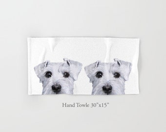 Schnauzer white, Hand, bath, Beach Towel, original painting design