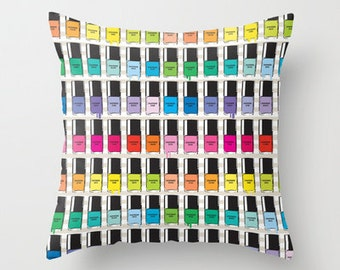 Pillow cover with insert. Pantone color Nail Polish Spring color pattern print on both side.