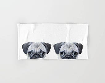 Hand, bath, Beach Towel, original painting design, Pug. dog illustration print.