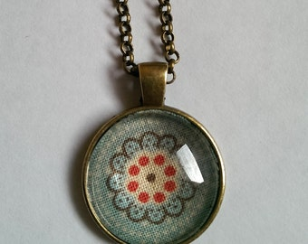 Turqiose Fabric Flower Necklace, Turquoise and Red Flower Necklace, Antique Bronze Pendant Necklace