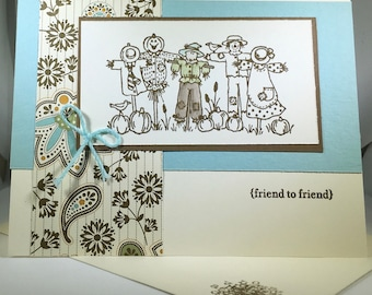 Friend to Friend, card, scarecrows, blue, ribbon
