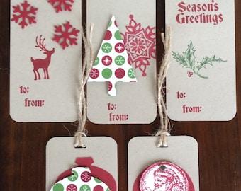 Christmas, Tags, Gift tags, Handmade, stampin up, card