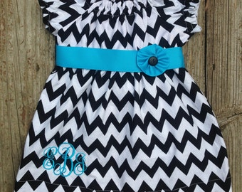 Monogrammed Chevron Peasant Dress with Sash