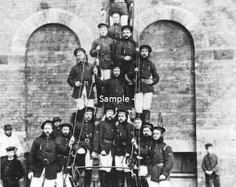 BANBURY, ENGLAND Volunteer Fire Department in 1890 - Vintage Photo Art Print, Ready to Frame!
