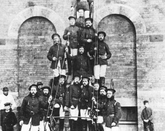 BANBURY, ENGLAND U.K.  -  Fire Fighters in 1890 Outside Fire Department - Vintage Photo, Ready to Frame!