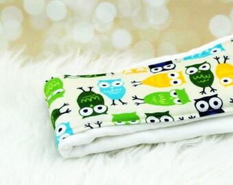Baby Burp Cloth (Blue/Green Owls) ||| burp rag, baby burp cloths, burping rag, baby shower gift, baby gift, new baby gift