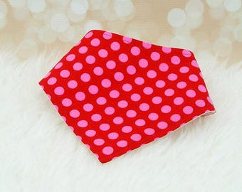 60% OFF SALE! Baby Bandana Bib (Pink Dots on Red)     bibdana, drool bib, dribble bib, bandana bib sale, bibdanna, baby bibdana, baby shower