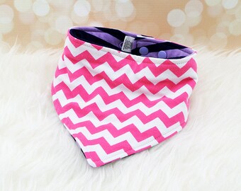 Jersey Knit Bandana Bib - Purple/Navy Stripes & Medium Pink Chevron - reversible bandana bib, jersey drool bib, knit drool bib
