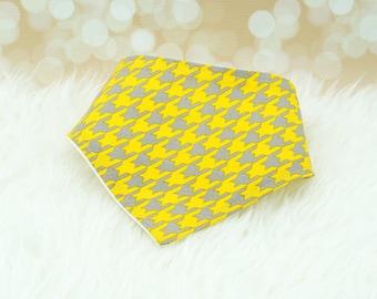 60% OFF SALE! Bandana Bib (Yellow/Grey Houndstooth)     bibdana, drool bib, dribble bib, drool bandana, special needs bib, baby shower gift