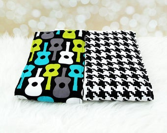 2 Baby Burp Cloths (Black Houndstooth and Guitars) ||| burp rag, baby burp cloths, burping rag, baby shower gift, baby gift, new baby gift