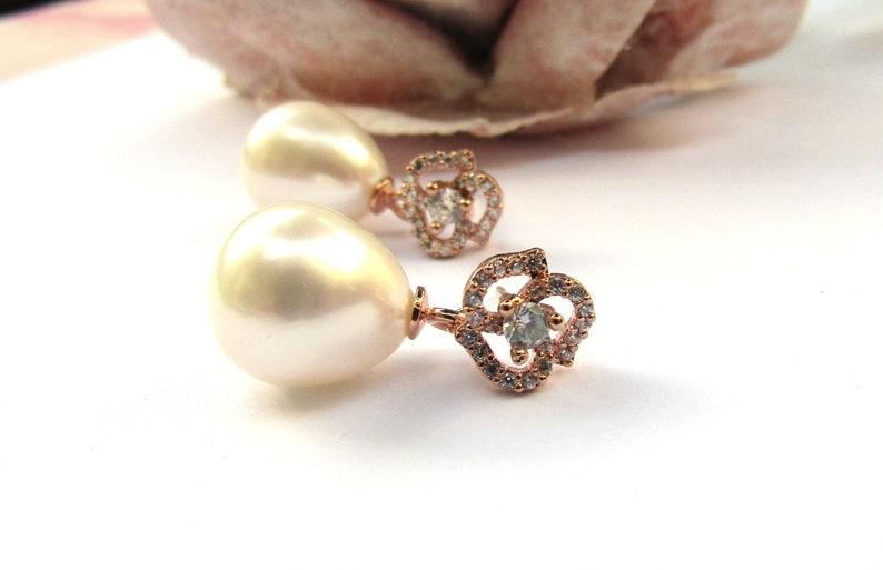 Small Pearl CZ rose earrings, Rose Gold Bridal Earrings Vintage Style Wedding Earrings Freshwater Pearl Earrings Bridal Jewellery