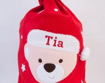 personalised embroidered name deluxe christmas santa sack gift bag stocking xmas tree decoration presents hohoho father christmas noel new
