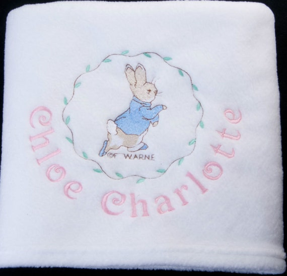 Personalised New Baby Or Birthday Card By Mint Nifty: Personalised Embroidered Name Peter Rabbit New Baby Girl
