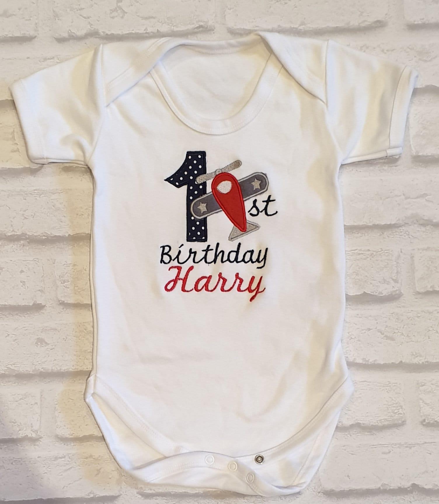 1 Airplane Shirt Boy//Girl First Birthday Bodysuit tshirt Plane Toddler//Baby One