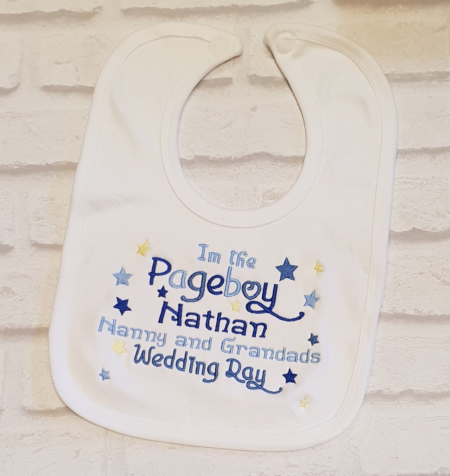Page Boy Embroidered Baby Bib Gift Personalised Wedding