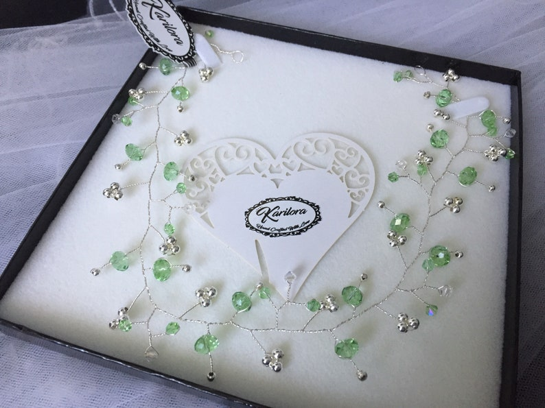 de876bc965c1 Bridal  Bridesmaids Light Green Swarovski Crystals and silver