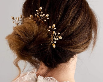 3 Gold or Silver/ ivory or white beads Bridal Vine Hair Pins, Wedding Hair Accessories, Wedding, Christmas, Prom, Party Headpiece