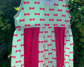 Mini dress made with Japanese bow print ripple cotton, mint green dress for 2-3 years old 100cm in height