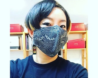 Made to order face cover, face mask made with Japanese wave cotton and double gauze cotton, three layer cotton, reusable