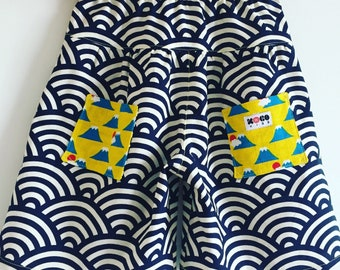 Kids culottes, shorts made with Japanese traditional print cotton 2 to 7 years old various pattern