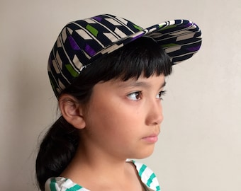 kids cap made with Japanese print cotton, cotton cap, baseball cap, sun hat UV cut interfacing, different patterns