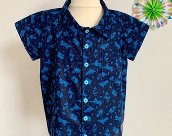 Unisex Japanese lawn cotton shirt cat print origami geometric blue for 3-4 years old 110cm in height