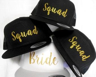 BRIDE SQUAD HATS, Bride's Squad, Squad Hats, Bride Hat, Bachelorette Party Snapbacks, Squad Snapback Hats, Bride Tribe Snapback, Bridal Hats