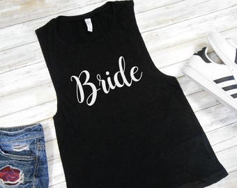 Bride Muscle Tank - Flowy Sleeveless Shirt - Bride Muscle Shirt - Bride Shirt - Bride Muscle Tee - Bride Tank Top - Bridal Tank