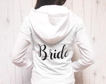 Mrs Bride sweatshirt jacket. Bride hoodie. Bridal hoodie. Bridal sweatshirt Zip-Up. Mrs hoodie sweatshirt jacket. Bachelorette Zipup.