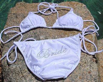 Bride Bikini Set for Honeymoon. Rhinestone Bikini Set for Honeymoon. Bride Bikini Swimsuit. Bride Swimwear. Bride Bikini.