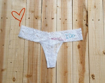 a1e6a82614a4 Bride Thong. Bride Lace Underwear. Bridal Lingerie. I Do. Wedding Party  Gift. Honeymoon. Just Married. Bride Panties