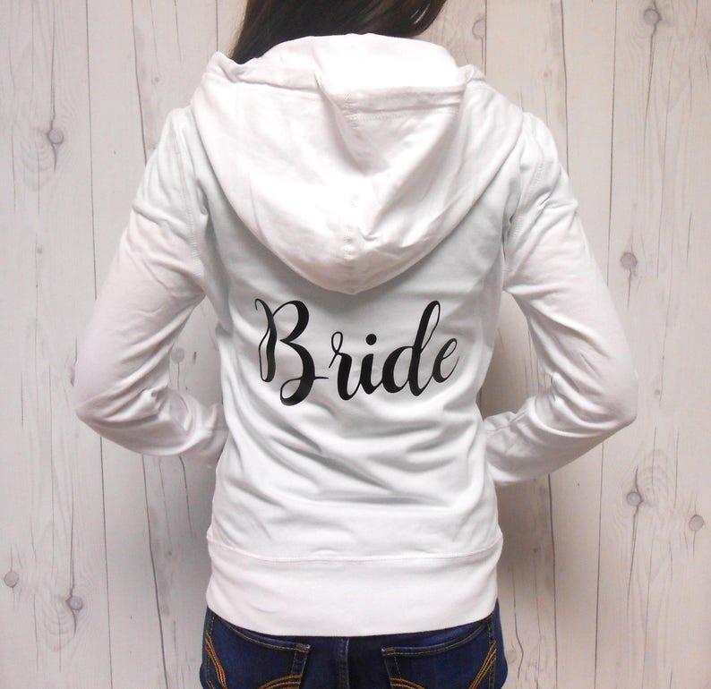 Bridesmaid Sweatshirt Wedding Sweatshirt Full-Zip Hoodie Bridesmaid Hoodie Jackets Bride Sweatshirt Bachelorette Sweatshirts