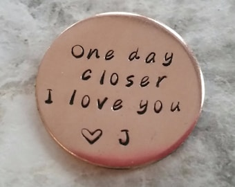 one day closer pocket coin deployment gift United States Navy gift airforce Marines army military deployment challenge coin gift for husband